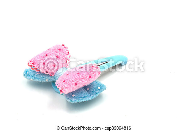 Snap Barrette Hair Clips on white background. - csp33094816