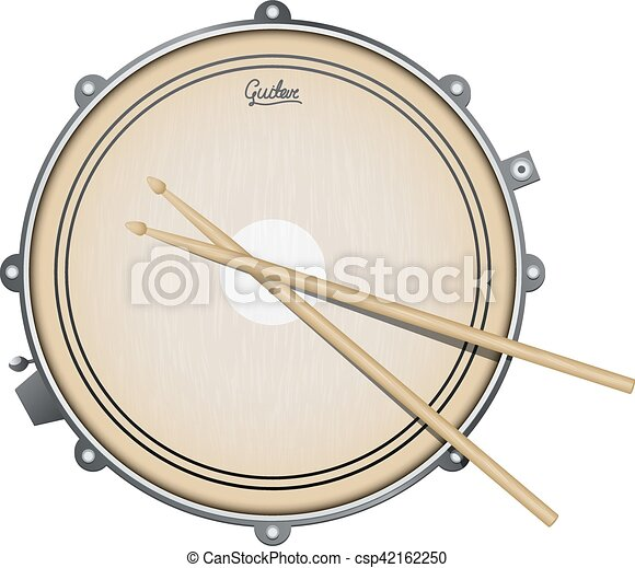 Snare drum realistic vector illustration with percussion instrument isolated on white - csp42162250