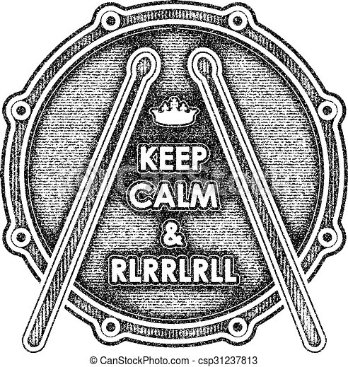 Snare Drum With Keep Calm And Rlrrlrll Inscription Vector Illustration Eps8