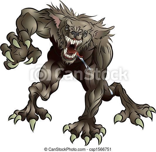 Snarling Scary Werewolf - csp1566751