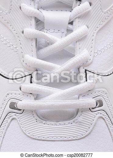 Sneaker laces closeup. Closeup of the