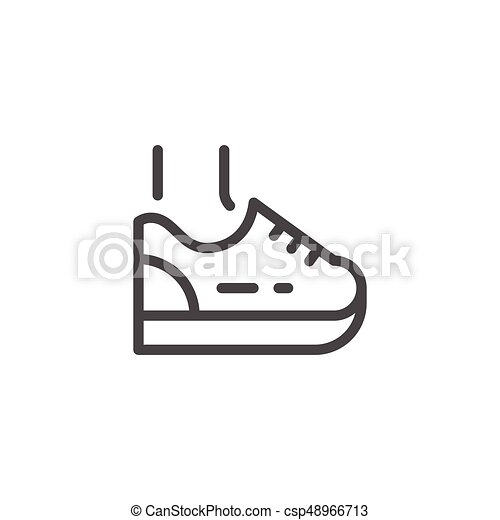 Sneaker Line Icon Isolated On White Vector Illustration