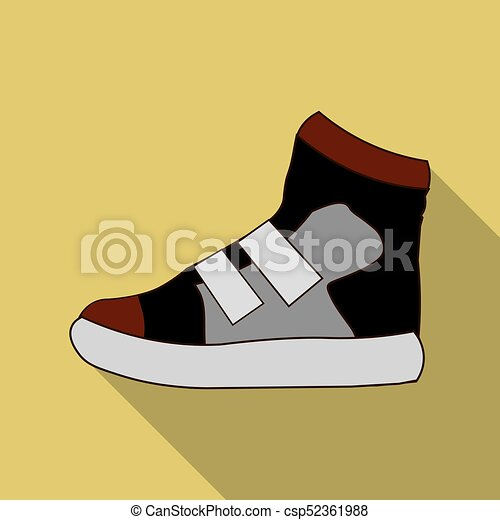 Sneakers icon in flat style isolated on white background. Shoes symbol stock vector illustration. - csp52361988