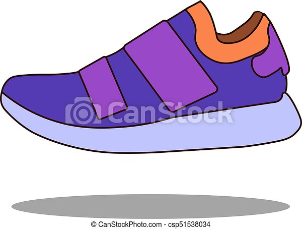 Sneakers icon in flat style isolated on white background. Shoes symbol stock vector illustration. - csp51538034