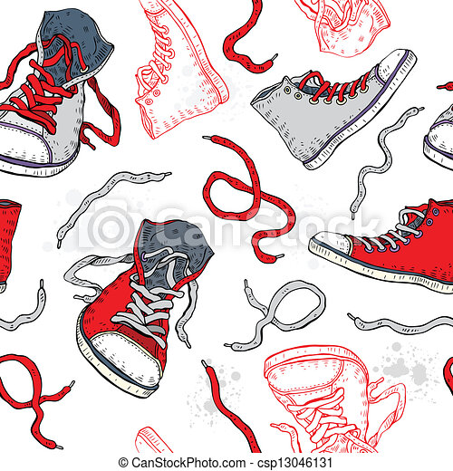 Sneakers. Shoes Seamless pattern.  - csp13046131