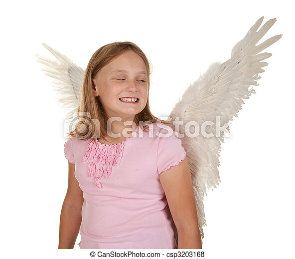 sneaky young girl with angel wings - csp3203168