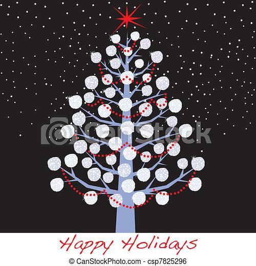sneeuwbal, vakantie, boompje, kerstmis - csp7825296