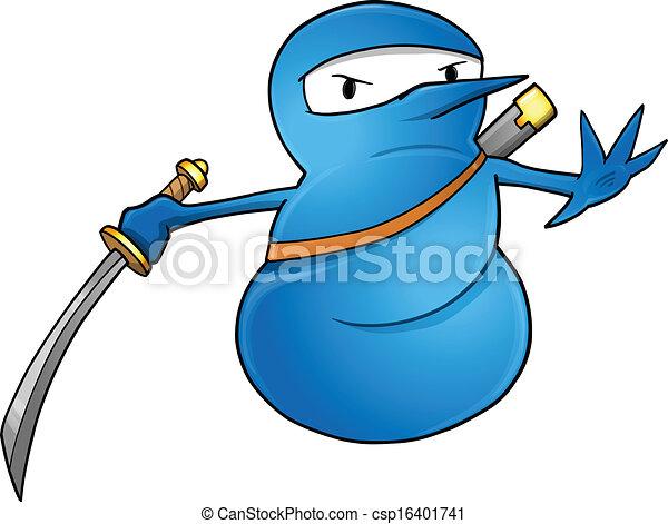 sneeuwpop, ninja, vector, illustratie - csp16401741
