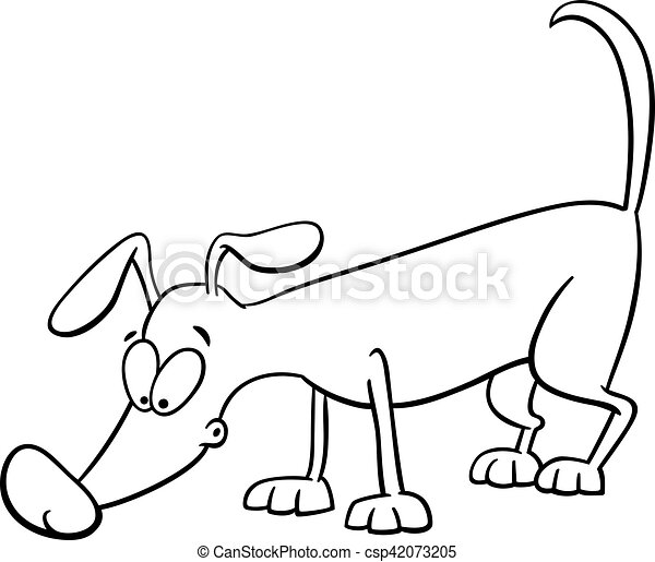 Sniffing dog coloring page. Black and white cartoon illustration of ...