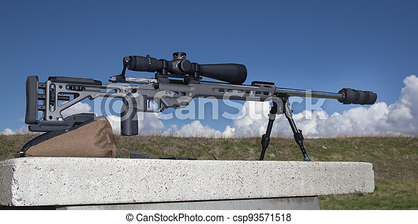 Sniper rifle with scope and silencer - csp93571518