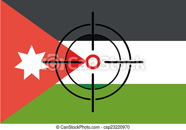 a sniper scope on the flag of jordan