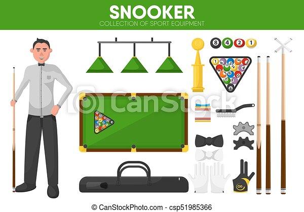Snooker billiards sport equipment pool player garment accessory vector flat icons set - csp51985366