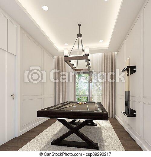 snooker room interior design. 3d rendering - csp89290217