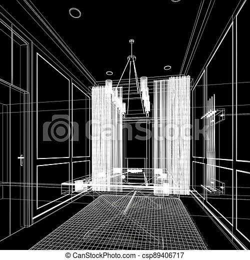 snooker room interior design. 3d rendering - csp89406717