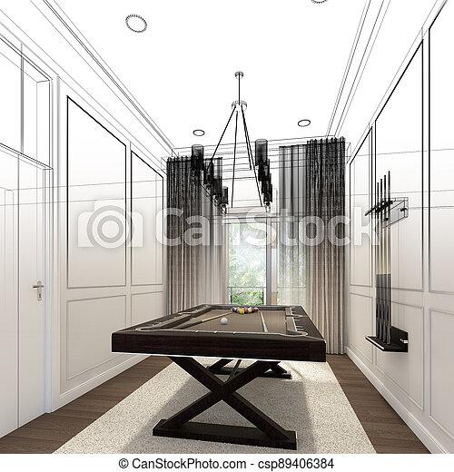 snooker room interior design. 3d rendering - csp89406384