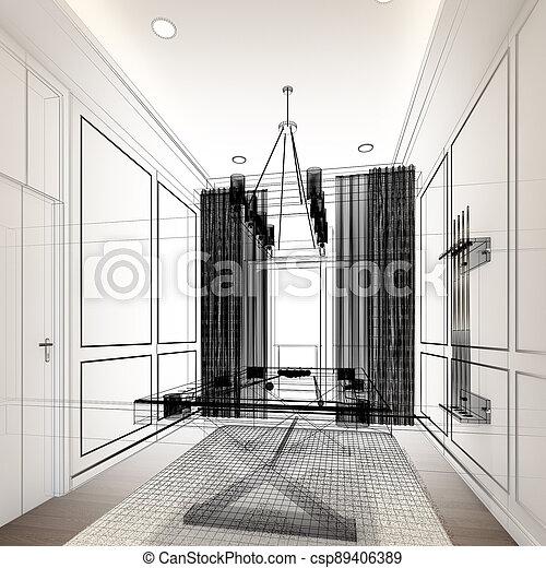 snooker room interior design. 3d rendering - csp89406389