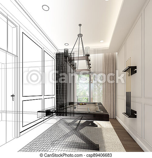 snooker room interior design. 3d rendering - csp89406683