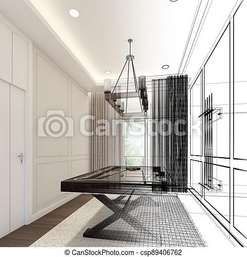 snooker room interior design. 3d rendering - csp89406762