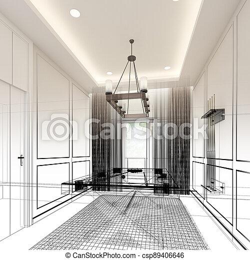 snooker room interior design. 3d rendering - csp89406646