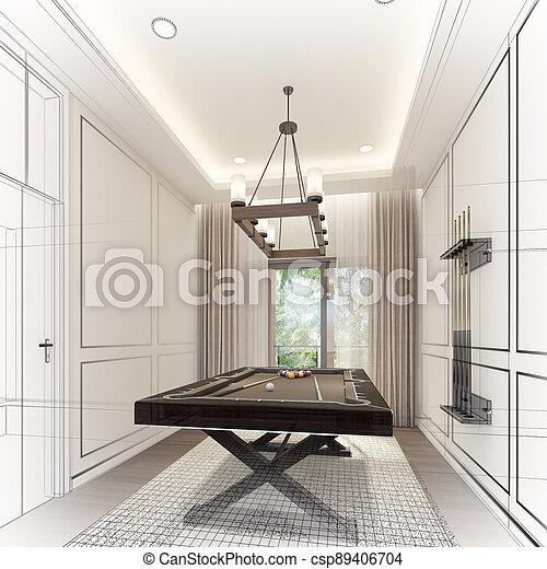 snooker room interior design. 3d rendering - csp89406704