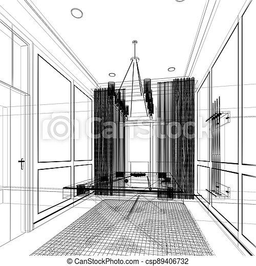 snooker room interior design. 3d rendering - csp89406732