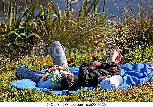Snoozing couple - csp0010239