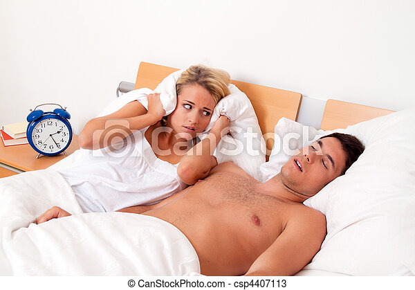 Snoring during sleep is loud and unpleasant - csp4407113