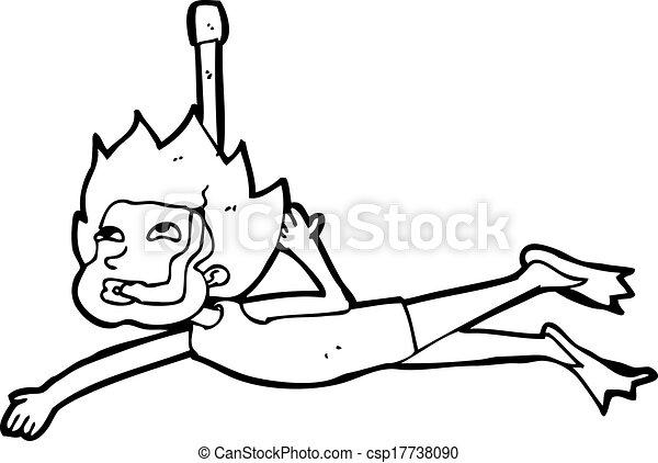 Snorkel dessin anim nageur - Natation dessin ...