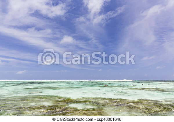 snorkelers, seychelles, digue, la - csp48001646