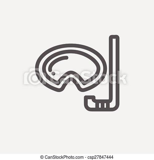 snorkelling, masque, snorkel, ligne mince, icône - csp27847444