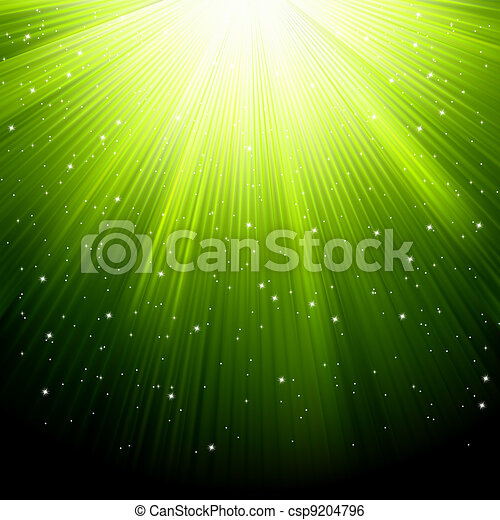 Snow and stars are falling on green rays. EPS 8 - csp9204796