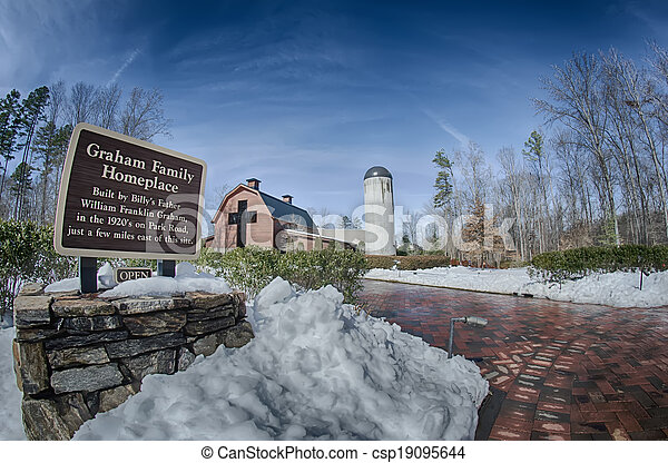 snow around billy graham library after winter storm - csp19095644