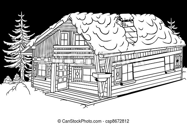 Vector Illustration Of Snow Cabin Black And White Cartoon - Cabin clip art free