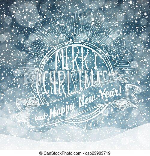Nieve cayendo. Feliz Navidad - csp23903719