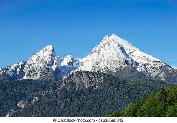Snow-capped mountain peaks Watzmann Mount in national park Berchtesgaden - csp38598342