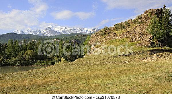 Snow caps of North Chuya ridge. - csp31078573
