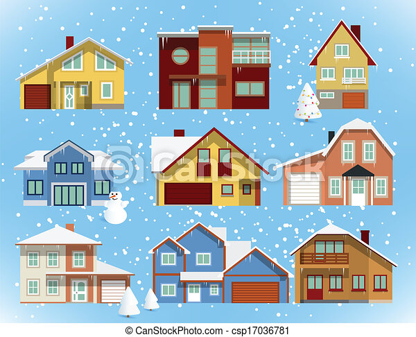 Snow Covered City Houses Christmas