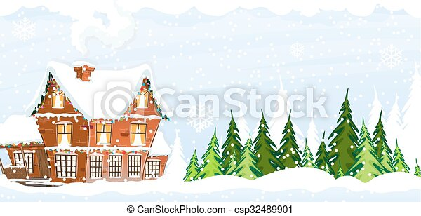 Snow-covered Farmhouse - csp32489901
