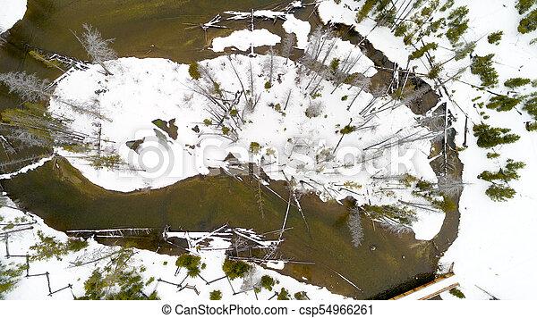 Snow covered island in Redfish Creek winter Idaho wilderness - csp54966261