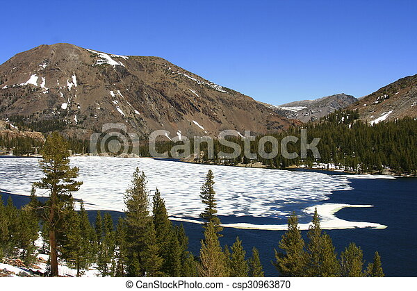 Snow Covered Lake - csp30963870