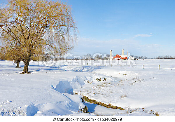 Snow Covered Meadow - csp34028979