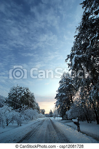 snow covered road - csp12081728