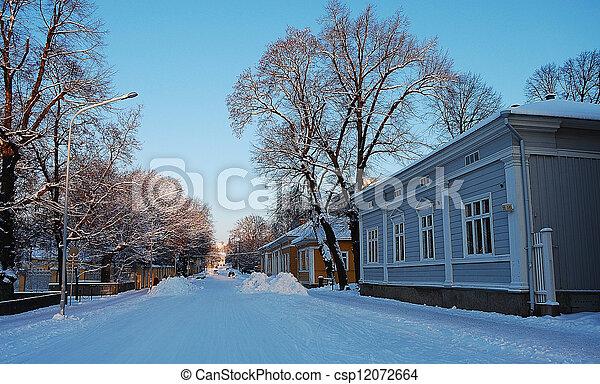 Snow covered street - csp12072664