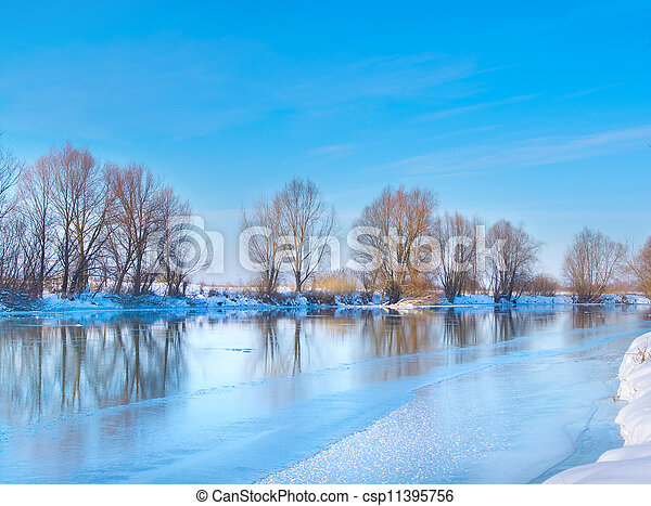 snow-covered winter river in sunny day - csp11395756