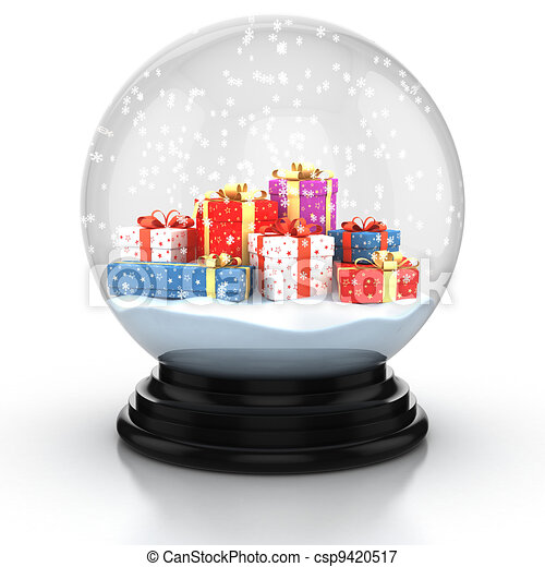 snow dome filed with presents  - csp9420517