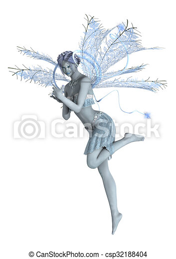 Snow fairy flying. 3d digital render of a beautiful snow ...