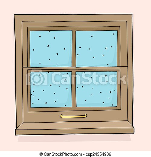 Snow falling outside Closed window with snow flakes falling