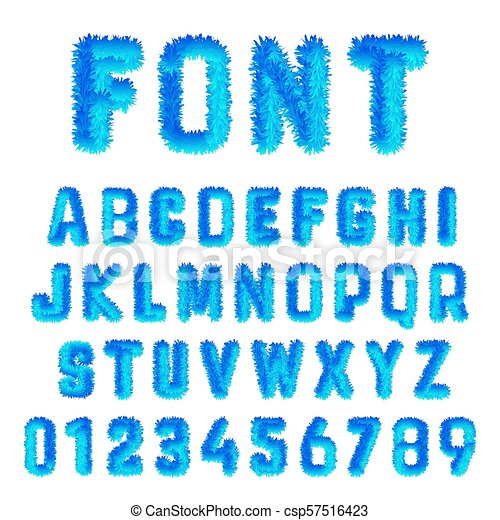 Snow Font Alphabet Template Set Of Blue Ice Numbers And Letters