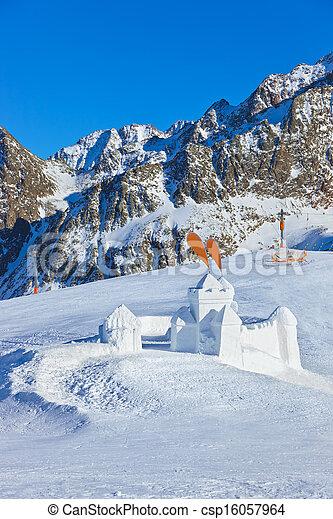 Snow fort in mountains ski resort - Innsbruck Austria - csp16057964