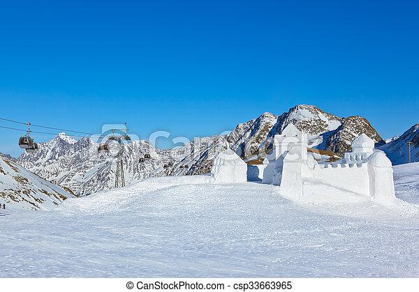Snow fort in mountains ski resort - Innsbruck Austria - csp33663965